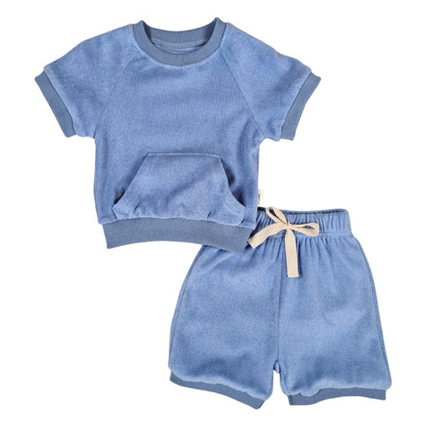 Sky Blue Towelling Shorts Set