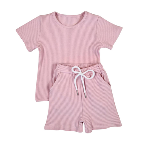 Baby Pink Ribbed Short Sleeve Set