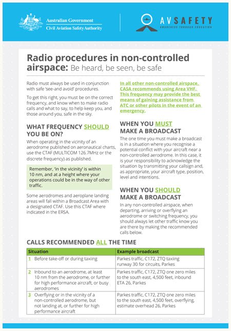 A5 Card – Radio procedures in non-controlled airspace