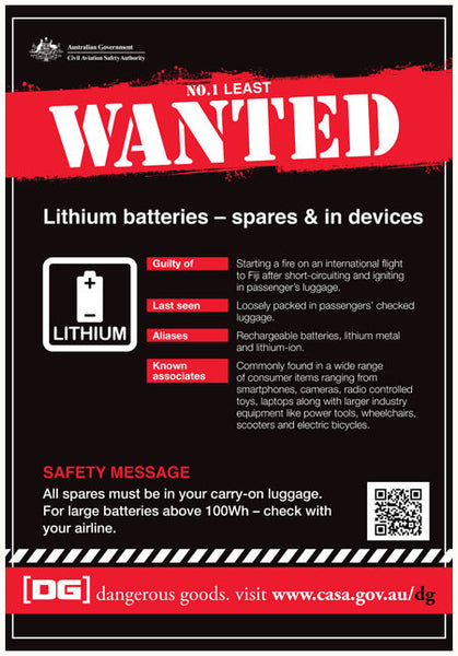Dangerous goods least wanted poster - No. 1 Lithium batteries