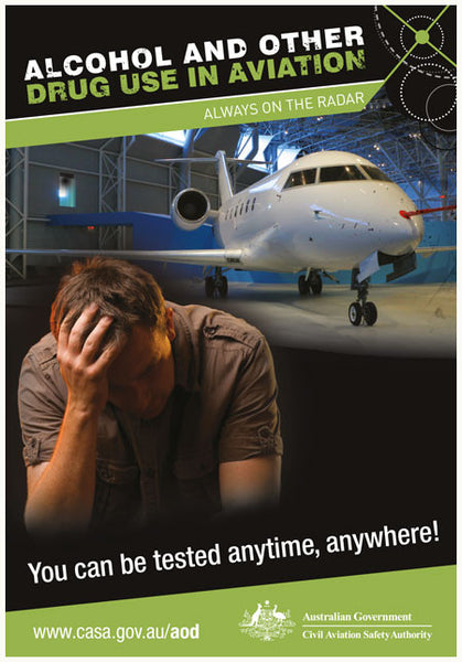 Alcohol and other drugs in aviation poster – Anytime, anywhere