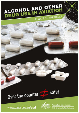 Alcohol and other drugs in aviation poster – Over the counter doesn't mean it's safe