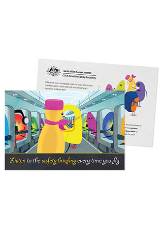Cabin safety postcard - Safety briefing