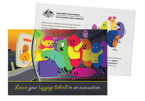 Cabin safety postcard - Leave your luggage behind in an evacuation