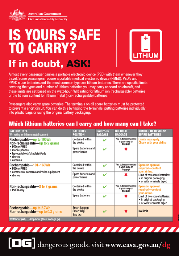 Dangerous goods lithium battery information card