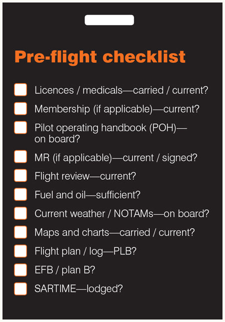 Pre-flight checklist card