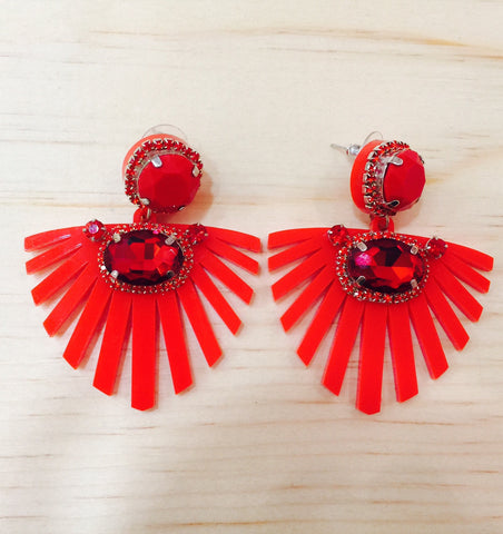#009 Red Earrings Crystal
