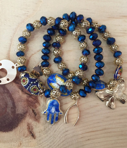 #014 Bracelets Blue Trio Crystal Set