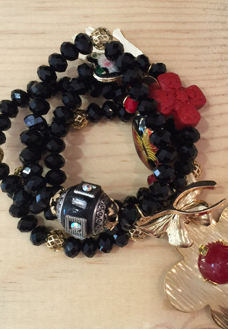 #028 Bracelets Crystal Black Set