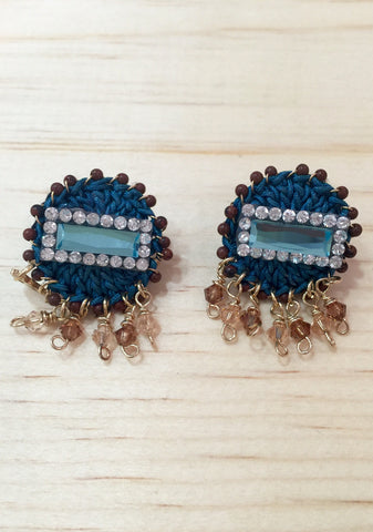 #030 Embroidery Blue Earrings