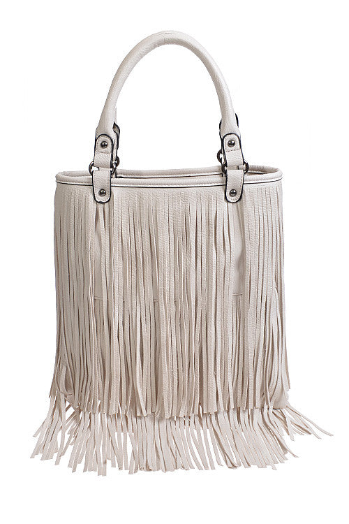 Long Fringe Fashion White Bag