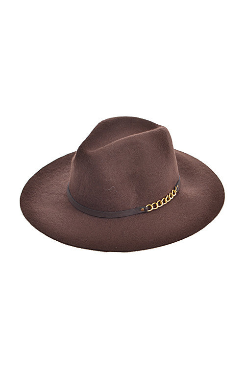Classic Fedora Hat with Brown Strap Chain
