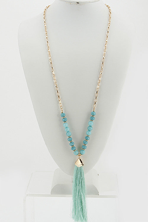 Gold Mint Bead Necklace
