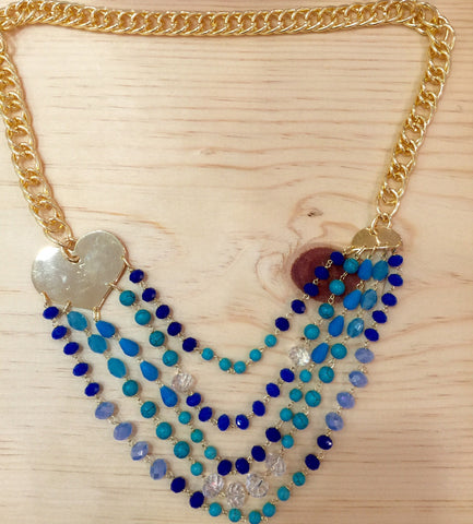 #059 Necklace Cascade Blue
