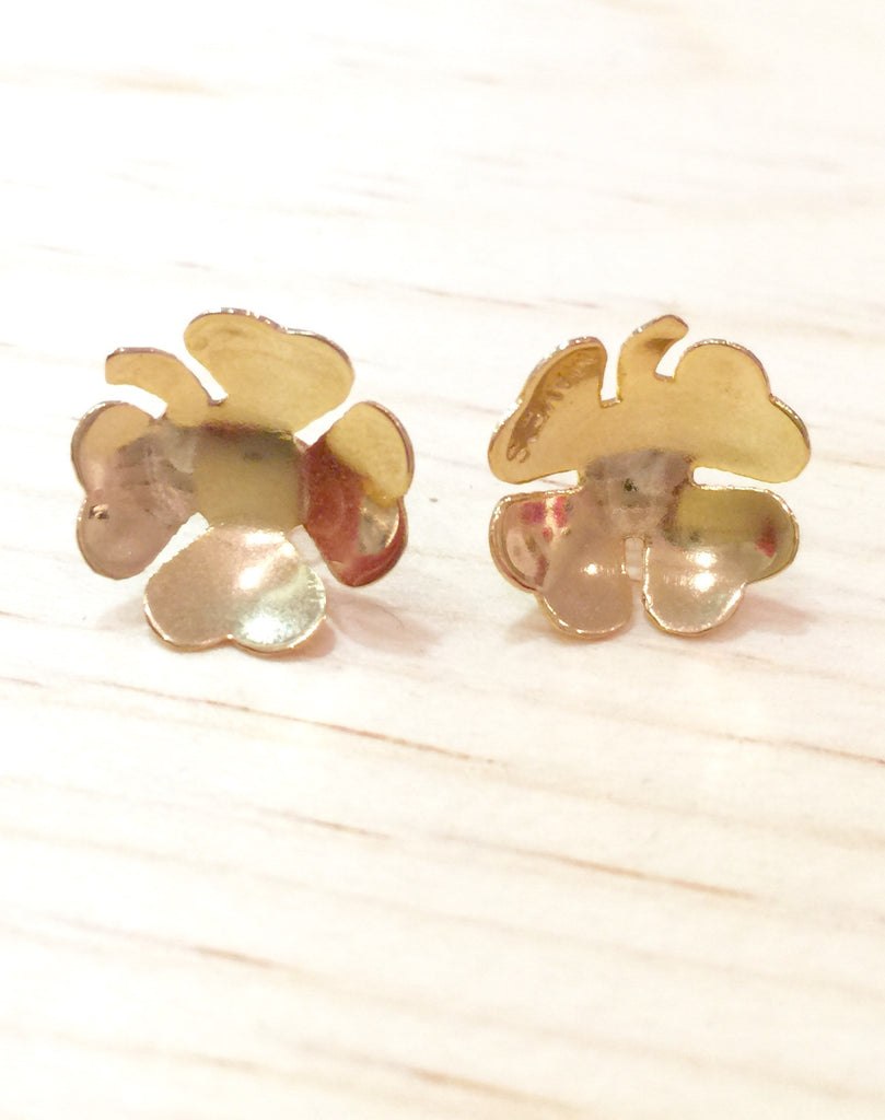 #065 Earrings Gold Clover
