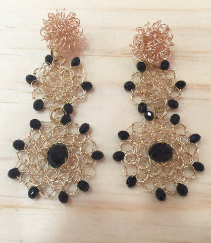#068 Embroidery Gold Black Earrings
