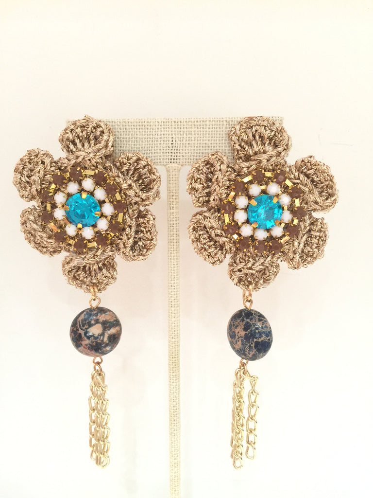 #092 Embroidery Blue Metal Earrings