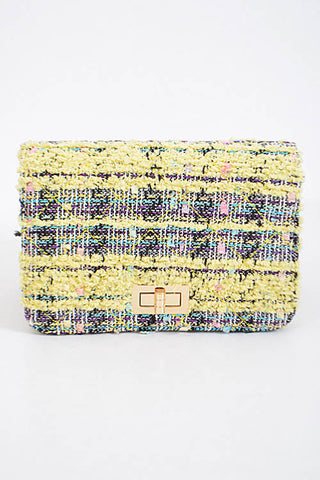 Fashion Yellow Handbag with Stitched Detail