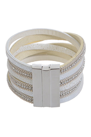 White Multi Layered Rhinestone Bracelet