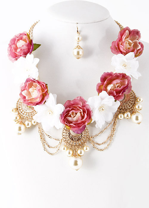 Pink White Flower Pearl Statement Necklace