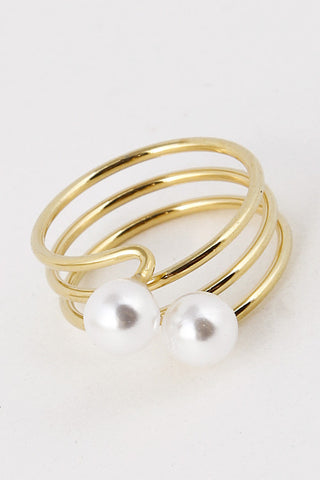Fashion Double Pearl Triple Lined Gold Ring