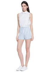 Summer Marine Striped High Waisted Shorts