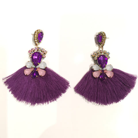 Fashion Purple Tassel Designer Long Fringe Purple and Pink Crystal Earrings