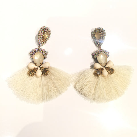 Fashion Off White Tassel Designer Long Fringe Gold Crystal  Earrings