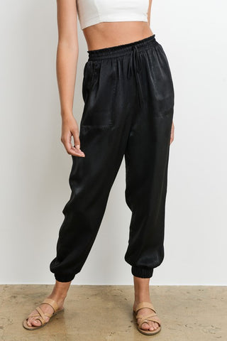 Elegant Black Satin Jogger Pants