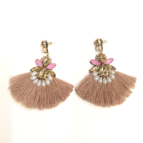 Fashion Beige Tassel Designer Long Fringe Pink and Gold Earrings