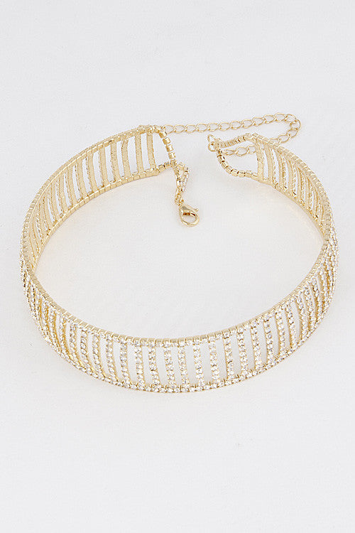 Elegant Open Rhinestone Gold Choker Necklace