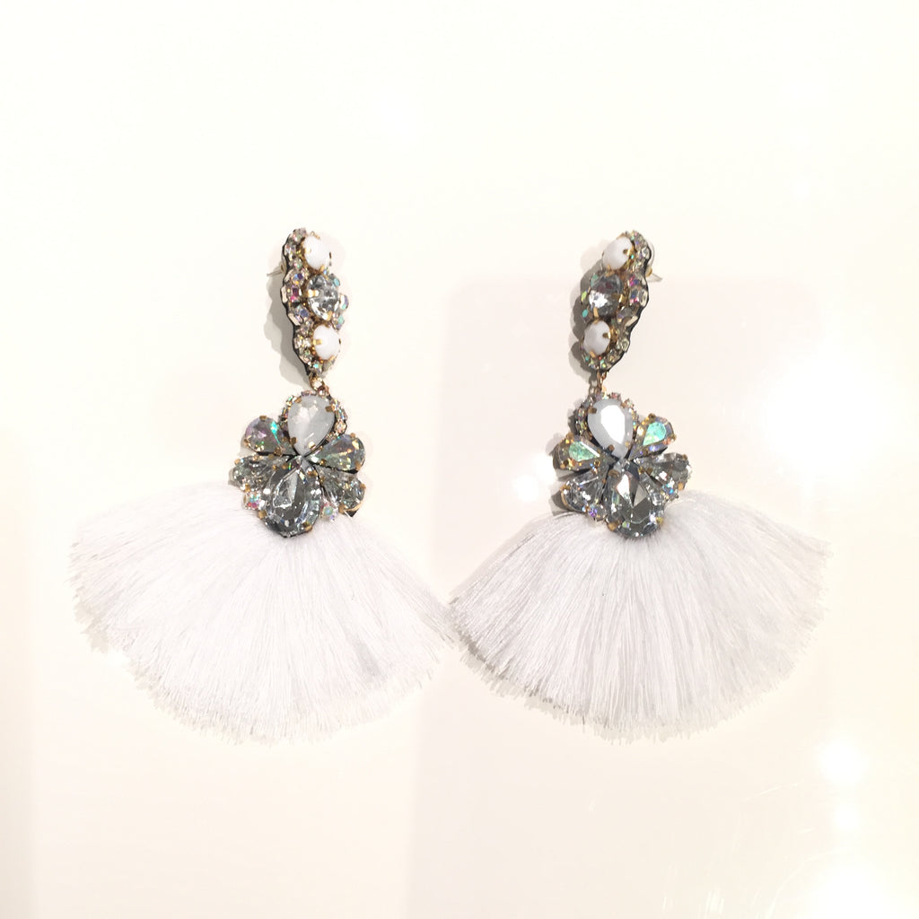 crystal rs silver two string white ayesha earring earrings metallic shop
