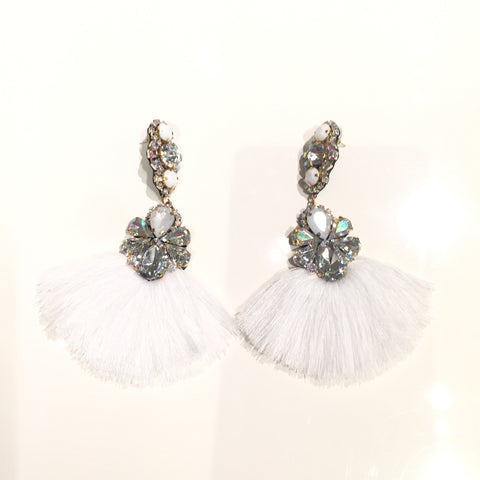 Fashion White Tassel Designer Long Fringe Silver and White Crystal Earrings