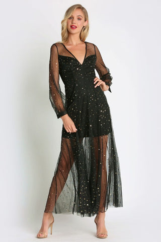 Elegant Black Crystal Gold Stars Detailed Dress with Sheer Sleeves