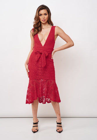 Elegant Red Floral Lace V-Neck Ruffle Tie-Up Dress