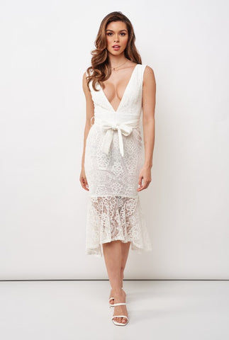 Elegant White Floral Lace V-Neck Ruffle Tie-Up Dress