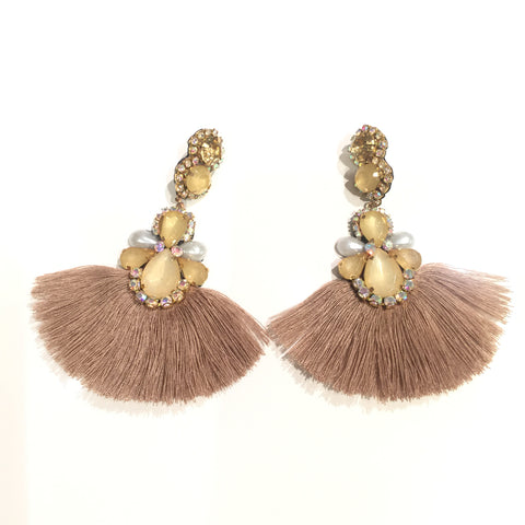 Fashion Brown Tassel Designer Long Fringe Beige Crystal Earrings