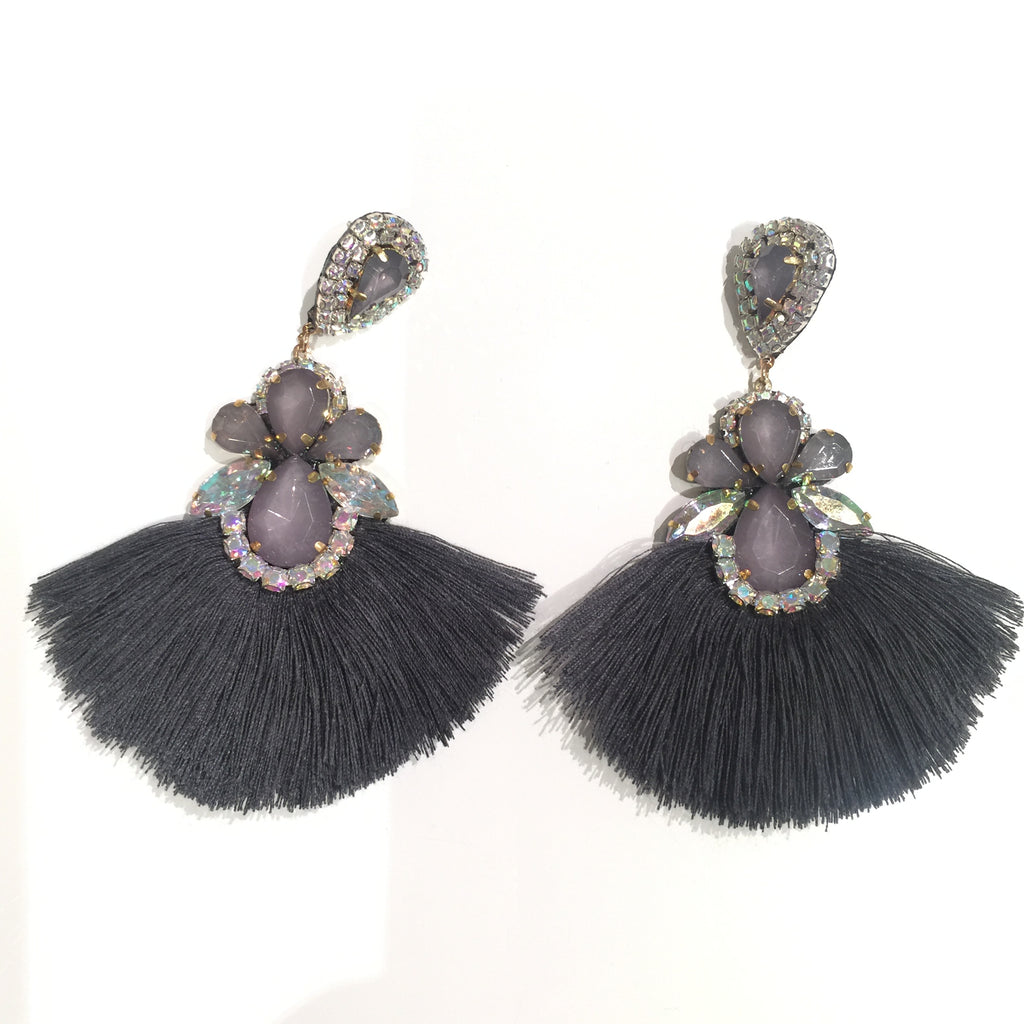 Fashion Grey Tassel Designer Long Fringe Grey Crystal Earrings