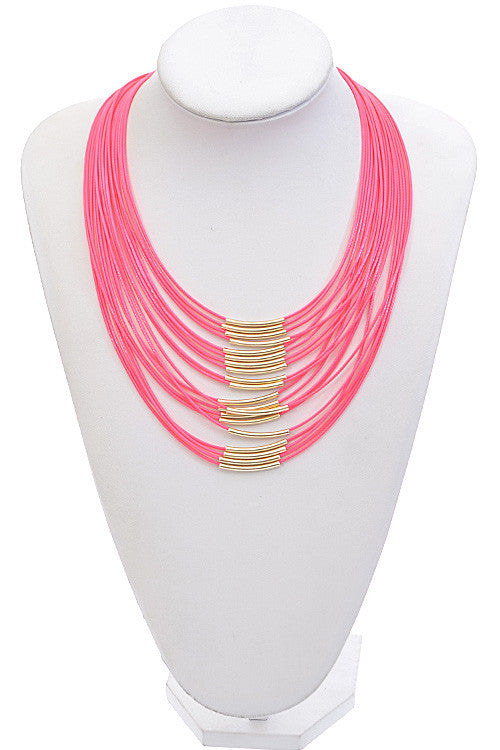 Fashion Neon Pink Gold Rope Detail Necklace