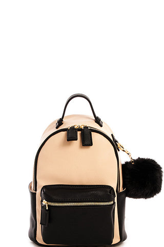 Fashion Contrast Beige Mini Backpack with Pom Pom