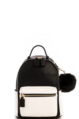 Fashion Contrast Black Mini Backpack with Pom Pom