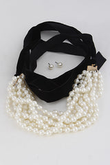 Elegant Pearl Multi Choker Necklace Set