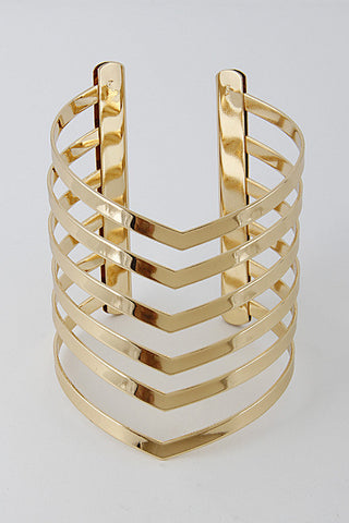 Fashion Gold Layered Open Cuff Bracelet