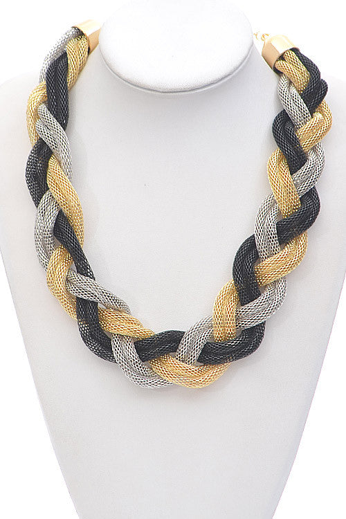 Elegant Multi-Color Twisted Shape Chain Necklace