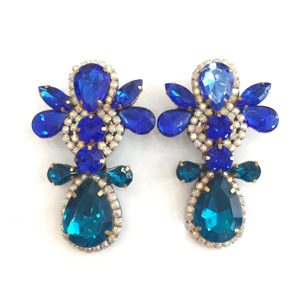 Fashion Designer Blue Crystal Earrings