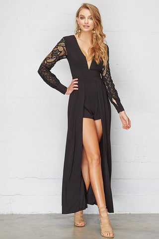 Elegant Black Lace Maxi Romper With Long Sleeve