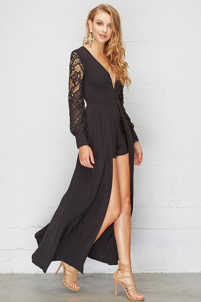 56810e04b6122 Elegant Black Lace Maxi Romper With Long Sleeve – EDITE MODE