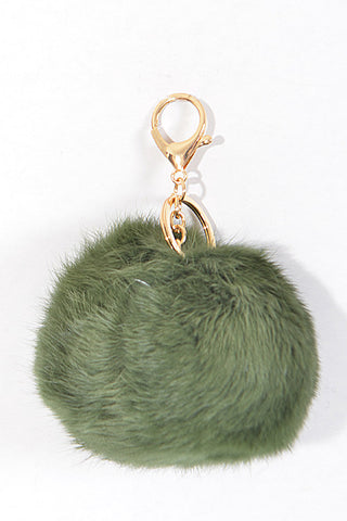 Small Olive Pom Pom Gold Key Chain