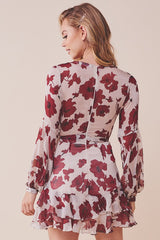 Fashion Beige Floral Print Ruffle Tie-Up Dress with Bell Sleeve