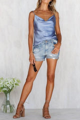 Elegant Strap V-Neck Satin Light Blue Top